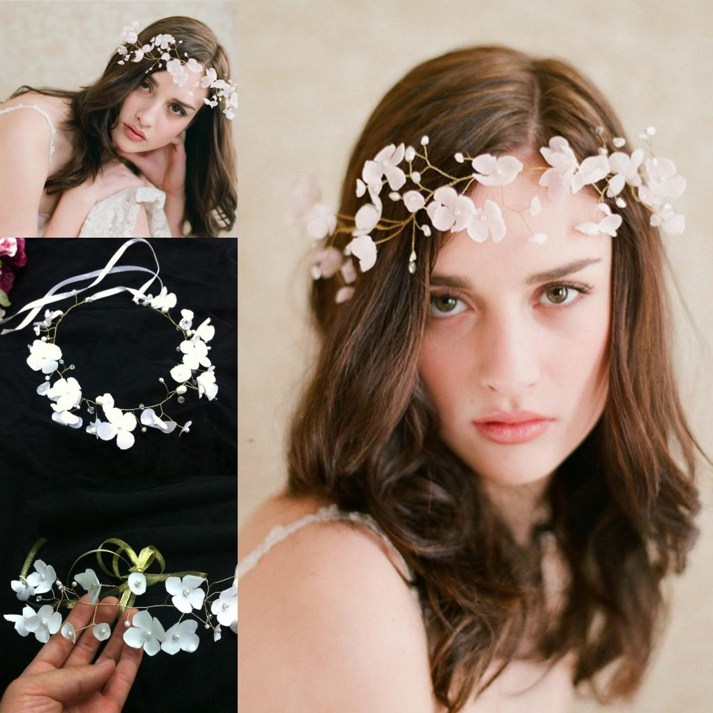 Hair accessories wedding cheap - Romantic White Flowers Bridal Tiaras Crowns Handmade Chic Pearls Wedding Accessories Girl S Hot Headpiece Hair Accessories Cpa097 Wedding Accessories Tiaras
