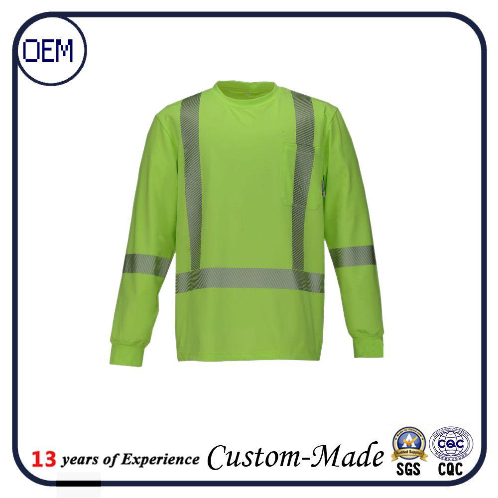 Custom hi vis 3m workwear t shirt men safety work uniform for Custom hi vis shirts