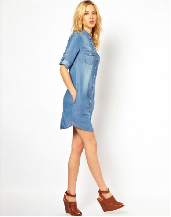 2016 Women Denim Dress Jeans Wear Summer Style Turn Dowm Collar ...