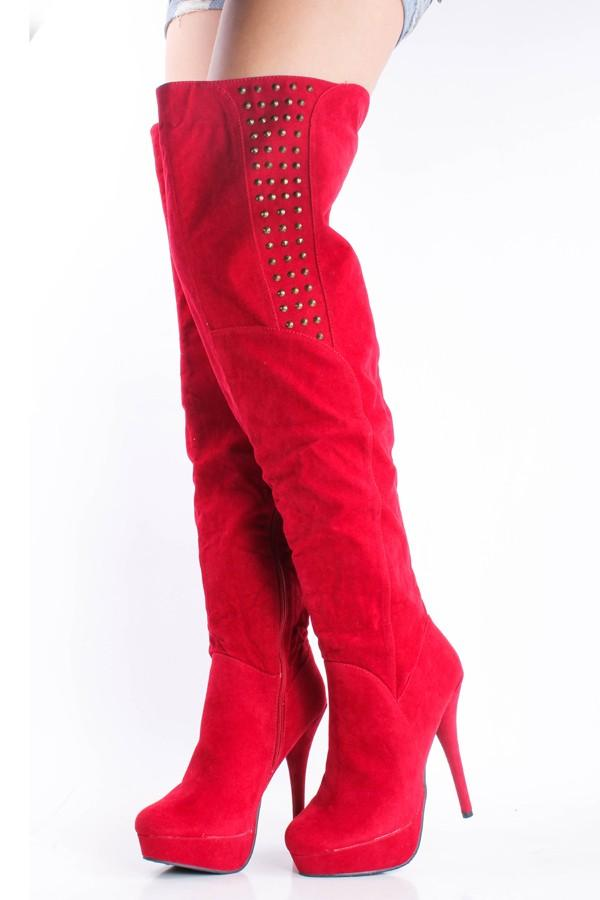 Thigh High Boots 2016 Fall Winter Boots Red Plus Size High Thin ...