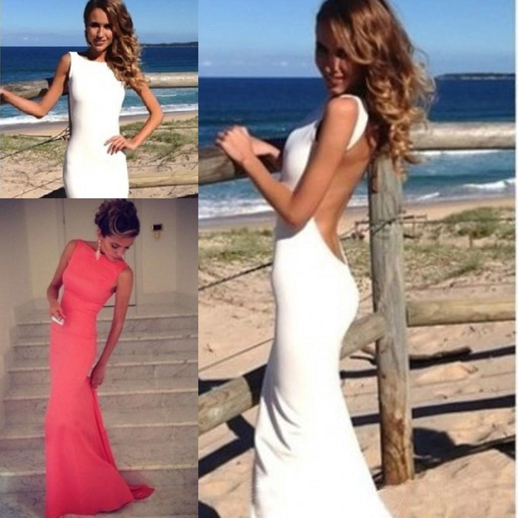 Simple 2015 White Coral Prom Dresses Mermaid Backless