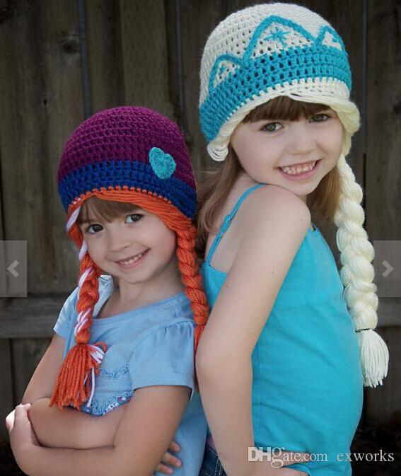 Wholesale Girl  Knitting Wool  Crochet Hats    Crochet Frozen Hats Kids Girls Baby Handmade Hat Crochet Kn ...