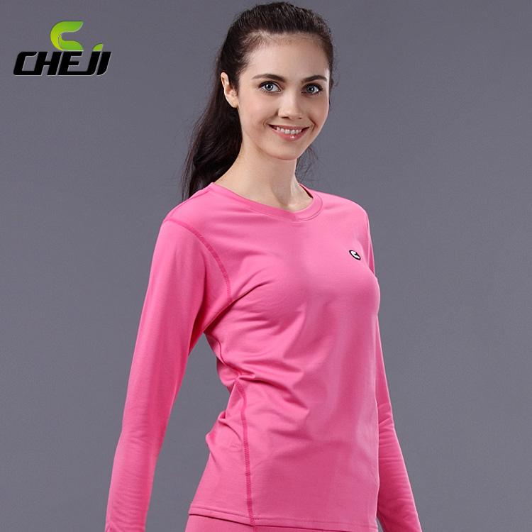 Pink CHEJI Winter Thermal Underwear Women Warm Johns Windproof ...