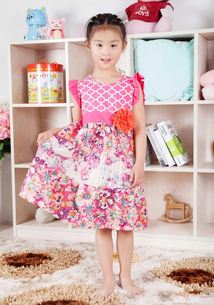 2017 children dress floral pink fluffy long dress children for Childrens dress fabric