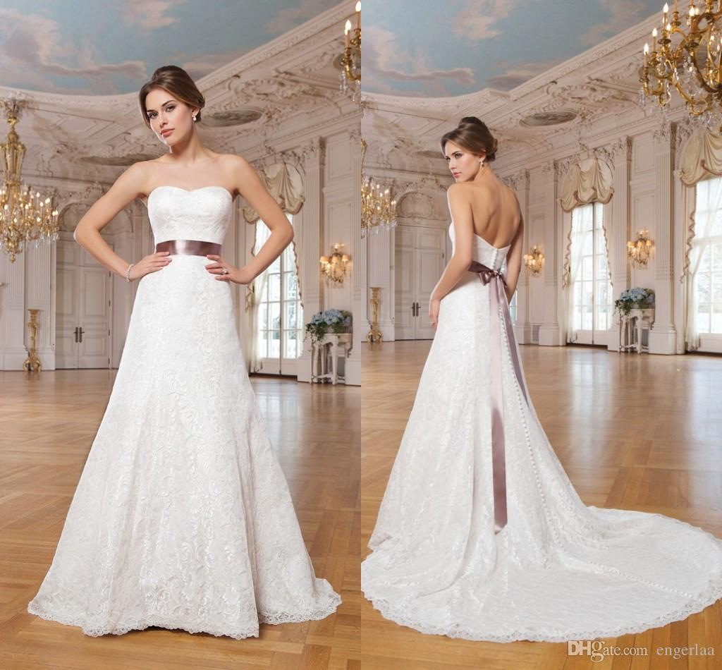 Simply lace empire wedding dresses strapless with ribbon for Simply be wedding dresses