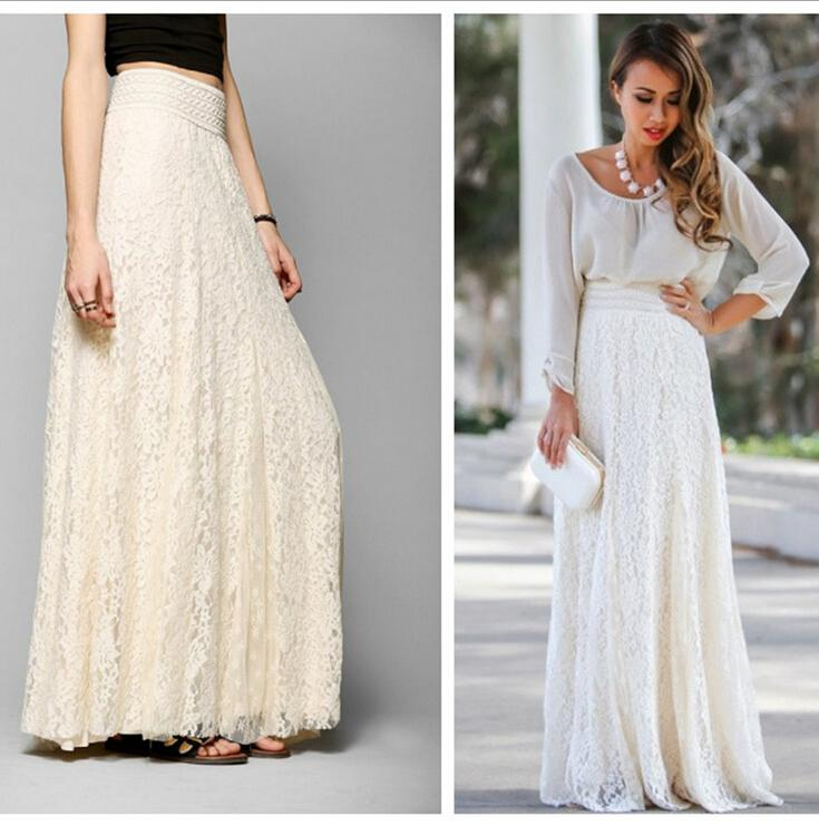 2016 Europe And America Women Maxi Skirt Hollow Lace Slim High ...