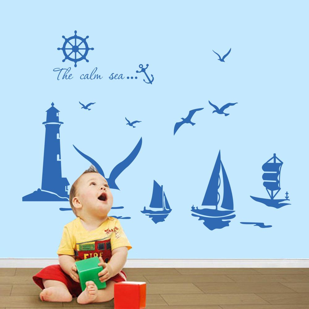 Vinyl Wall Stickers Home Decor Sailboat Lighthouse Seagull Wall Art Decals For Kids Room Decoration Stickers