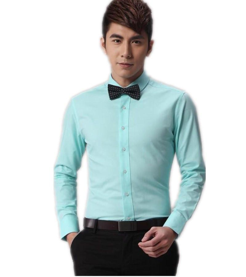 2016 New Men Leisure Men's Long Sleeve Shirt Light Green ...