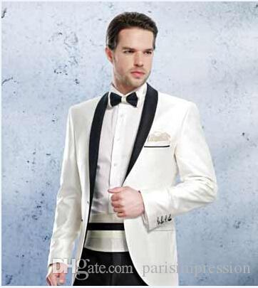 Ivory Wedding Suits for Men Black Shawl Lapel Grooms Tuxedos Two