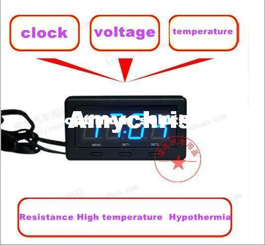 hot high quality car led clock resistance high temperature hypothermia voltmeter thermometer. Black Bedroom Furniture Sets. Home Design Ideas