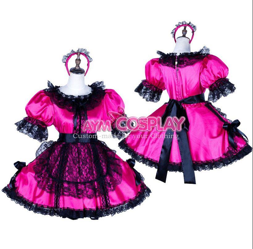 New Arrival Custom Made Locking Satin Sissy Maid Dress Uniform Cosplay  Costume Rose Red Halloween Party Event - New Arrival Custom Made Locking Satin Sissy Maid Dress Uniform