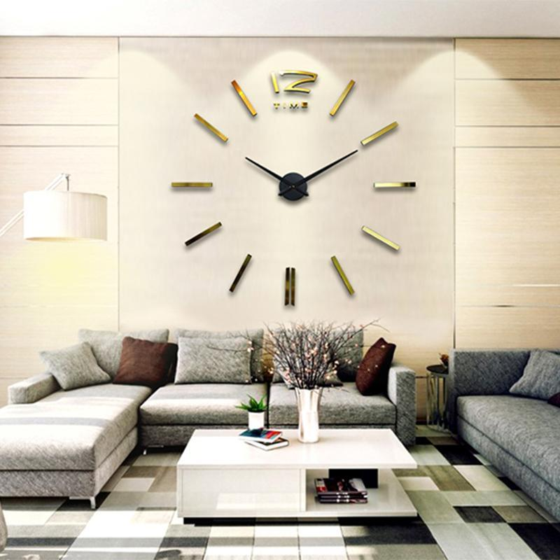 home decoration big mirror wall clock modern design d diy large, Home decor