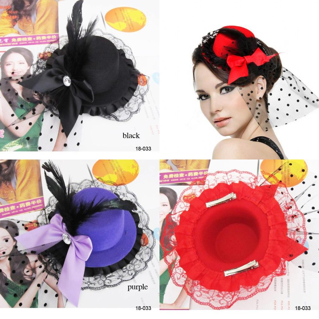 vintage wedding hair accessories headpiece cocktail party bow feather hair clip mini top hat fascinato women corsage brooch black red purple tiaras hair