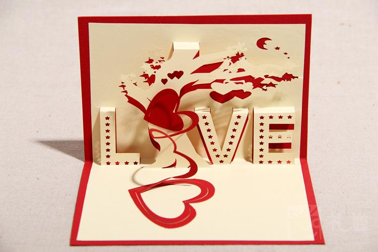 "... Handmade 3D Pop UP Cards With ""LOVE"" Greeting Cards Free Shipping (set"