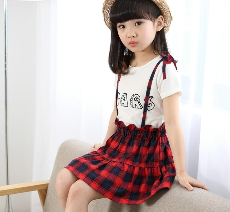 2017 Girls Summer Sets Outfits White Letters Short Sleeve T Shirt  ...