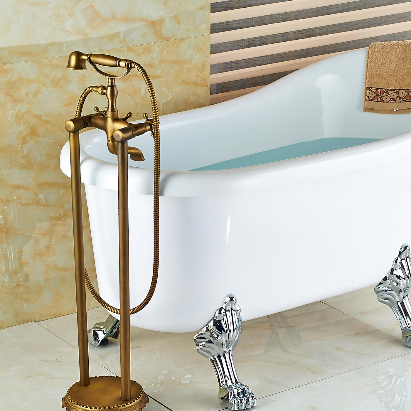 wholesale and retail floor mounted antique brass bathroom tub faucet floor mounted tub filler hand shower mixer tap bathtub faucet antique brass shower