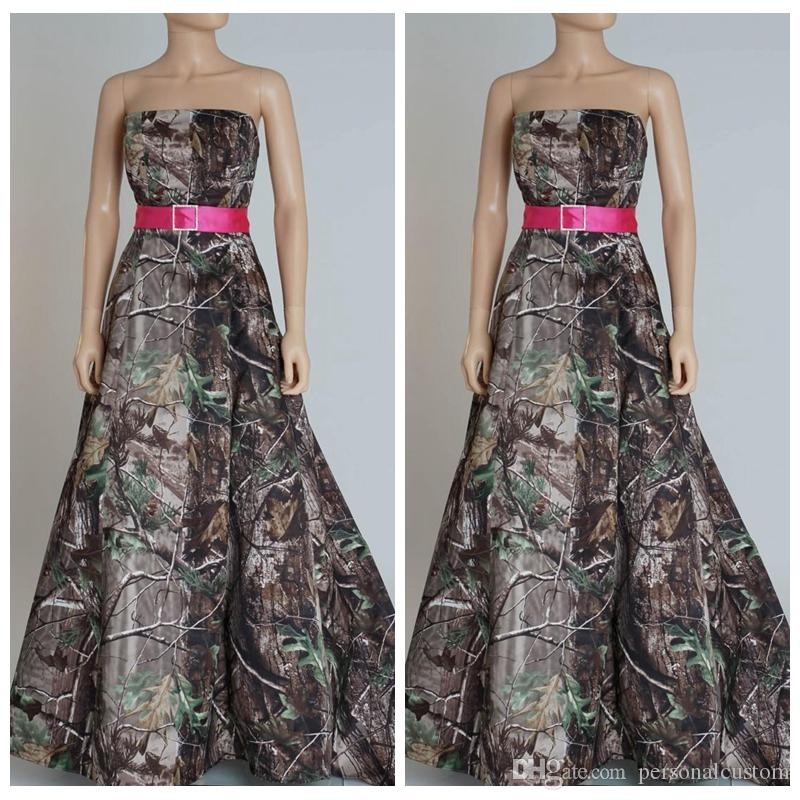 Best sale strapless a line camo wedding dresses chapel for Camo ribbon for wedding dress