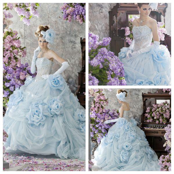 Stella De Libero Cinderella Wedding Dresses 2015 Light Blue ...