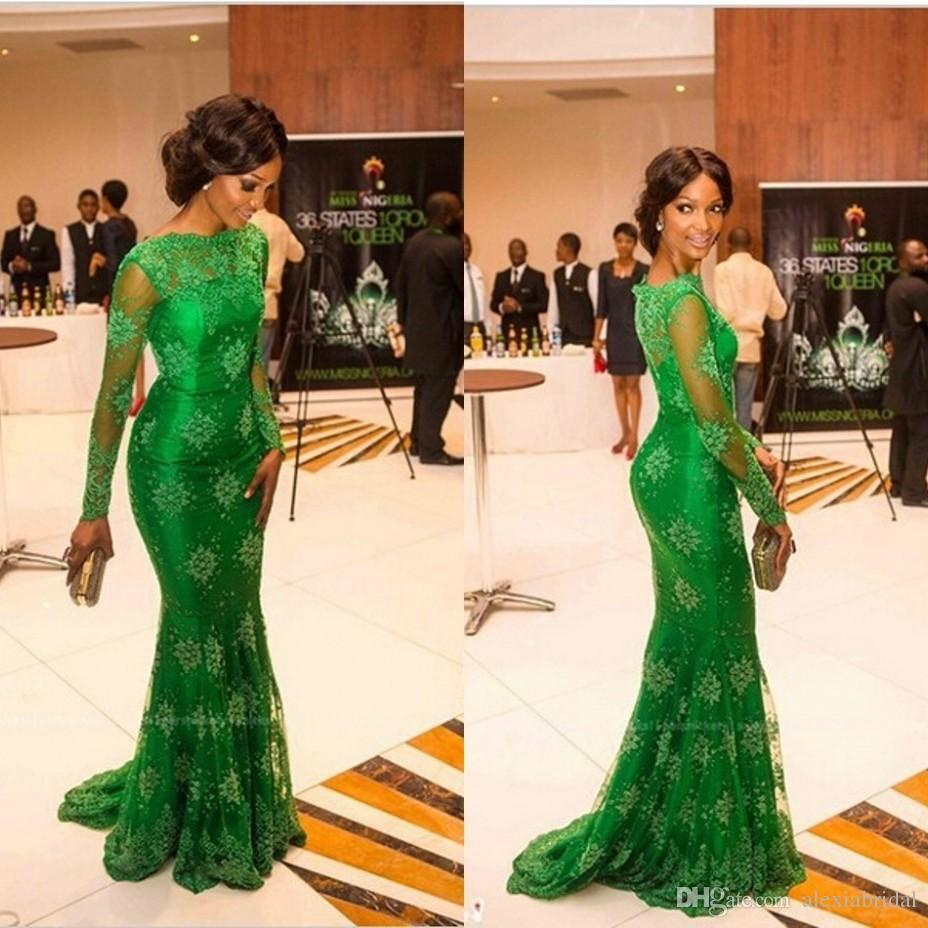 Green Lace Nigerian Evening Gowns Mermaid Arabic Dresses