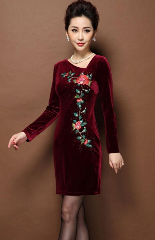 Robes Mode féminine vêtements velours broderie lourde femmes de grande taille robe femme Robes 2 coloer