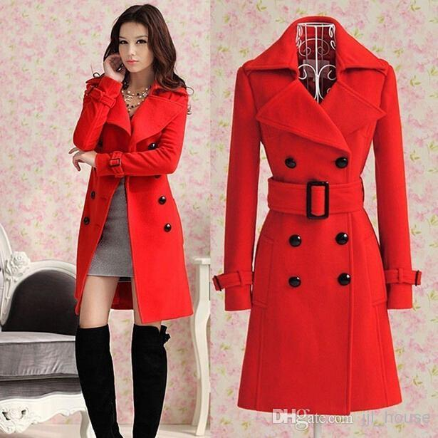 Hot 2014 Fashion New Women's Ladies Celebrity Red Blue Slim Warm Winter Coat Wool Woolen Jacket Outwear Long Trench Coats Pea Coats Belt Fre Online with