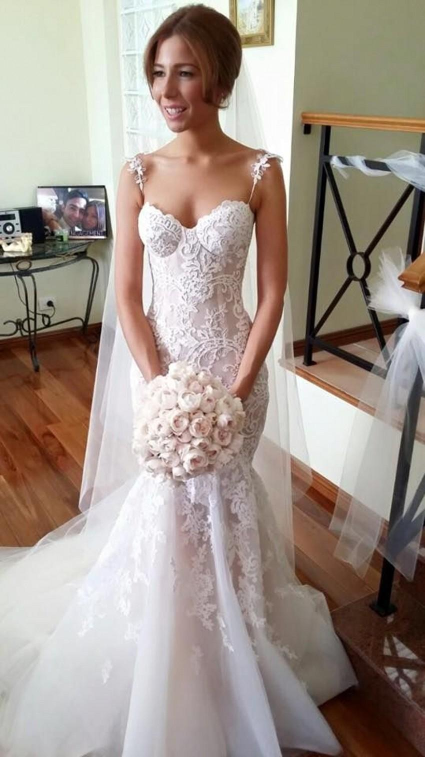 Steven khalil mermaid wedding dresses spaghetti strap for Steven khalil mermaid wedding dress