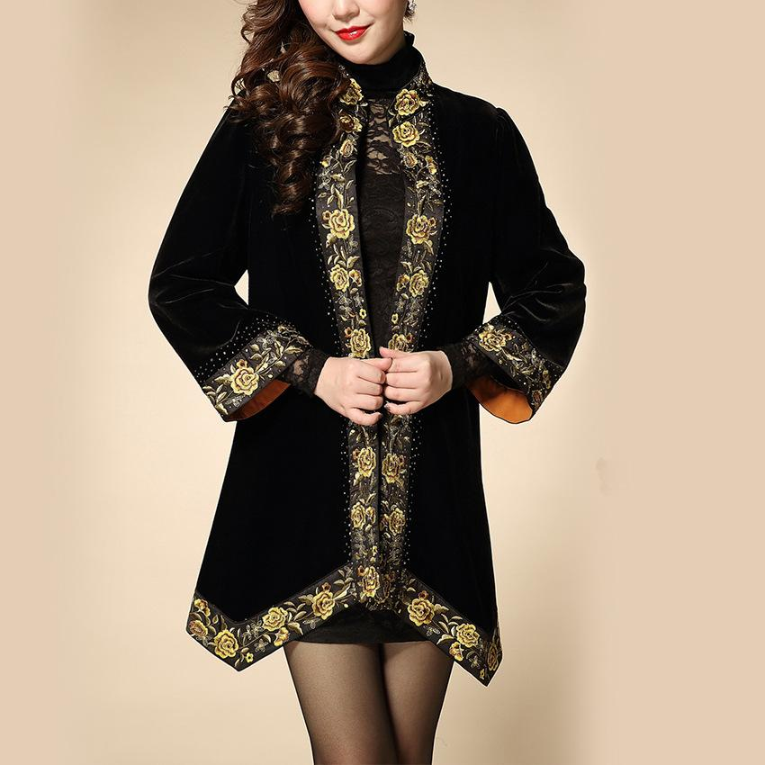 Gold Embroidery M 2xl Middle Age Women Clothing Black Velvet