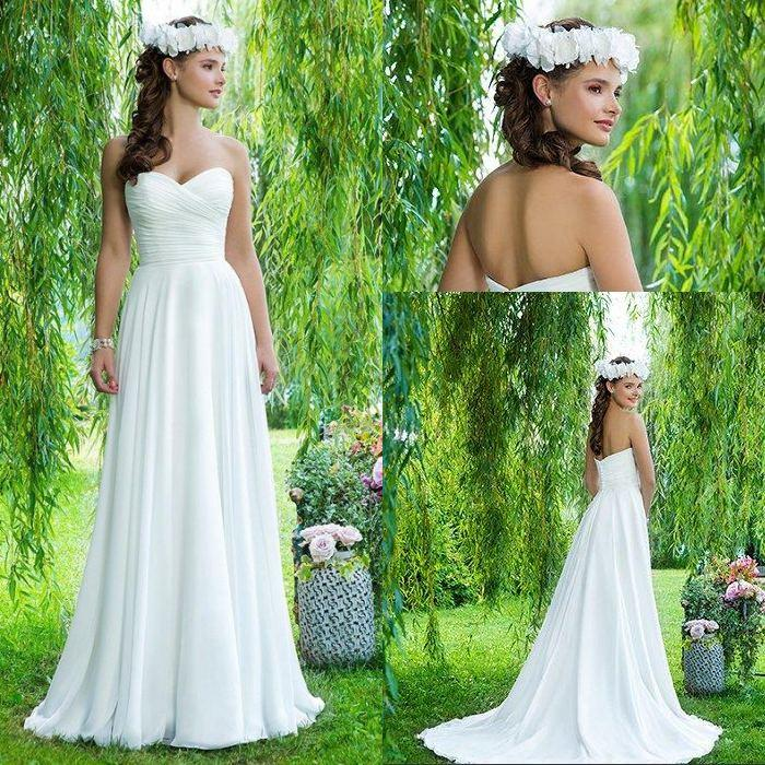 Discount summer 2016 a line sweetheart sweep train white Wedding dress 99 dollars