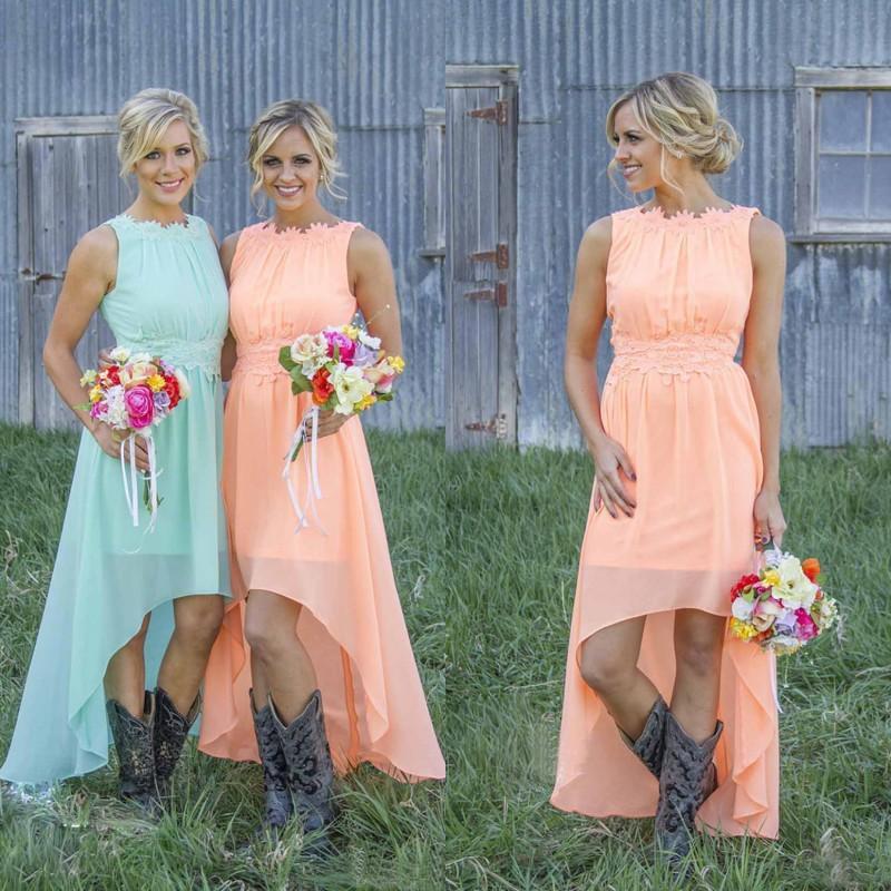 Bohemian Bridesmaid Dresses Wedding Guest Dress Jewel Neckline A ...