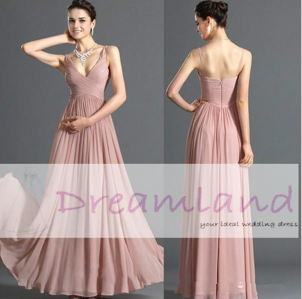 Blush Pink Evening Gowns Spaghetti Straps Deep V Neck Center ...