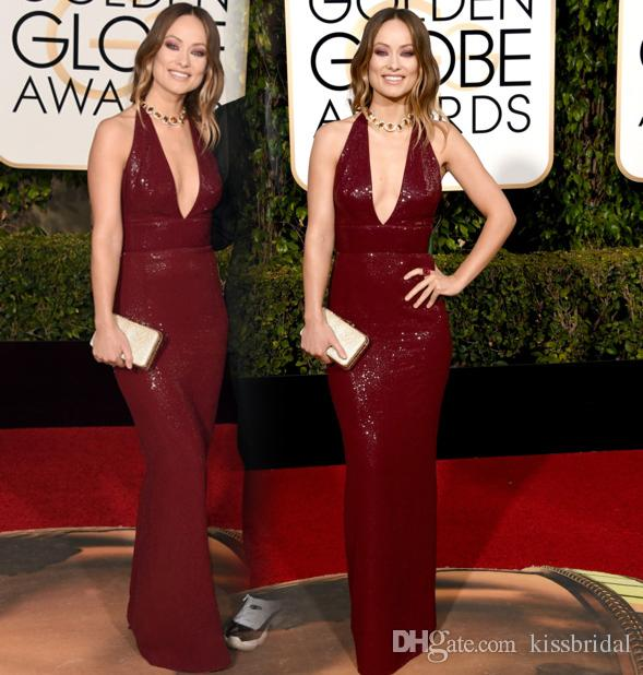 Halter neck red carpet dresses
