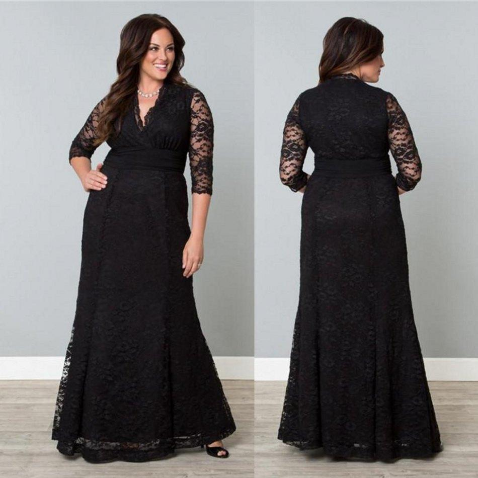 Elegant 2015 Plus Size Lace Evening Dresses With V Neckline 3/4 ...