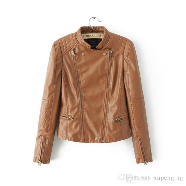 Ladies Biker Jackets  Leather Zip Through Biker Jackets