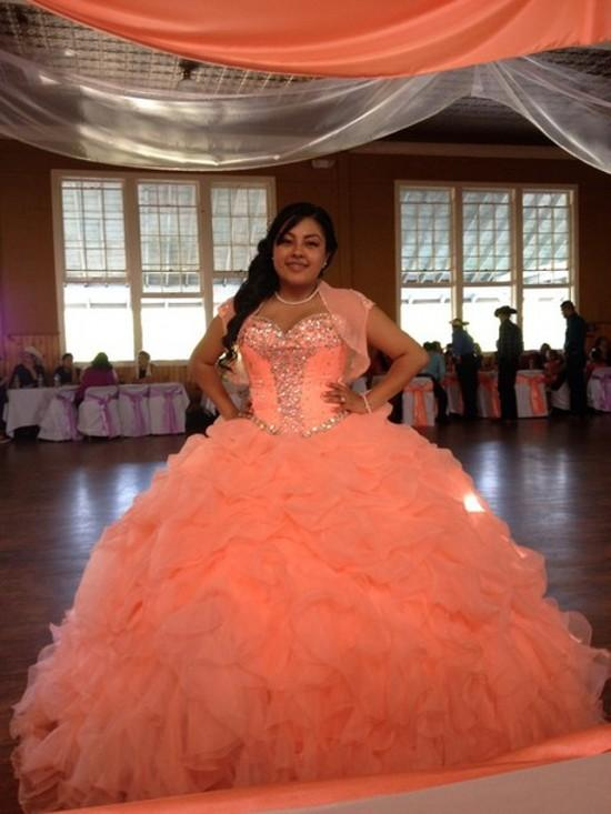 Peach Organza Crystal Ball Gown Quinceanera Dresses 2015 ...
