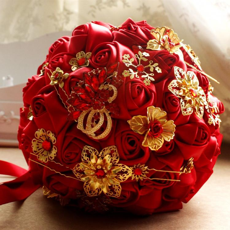 Chinese Red Chinese Style Wedding Bouquets Bride Holding A High End