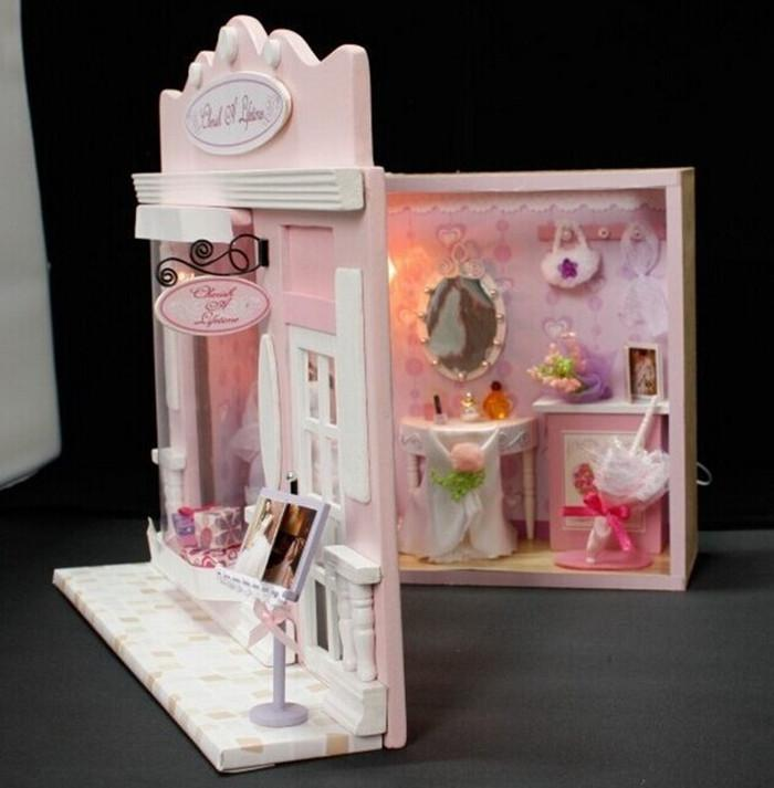 New diy mini wedding dress shop dollhouse kids christmas birthday gift