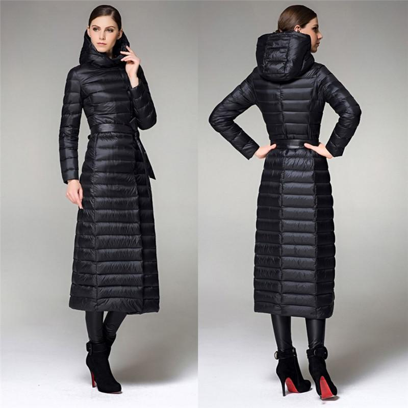 2017 X Long Women Down Coats Women Long Belted Winter Jackets ...