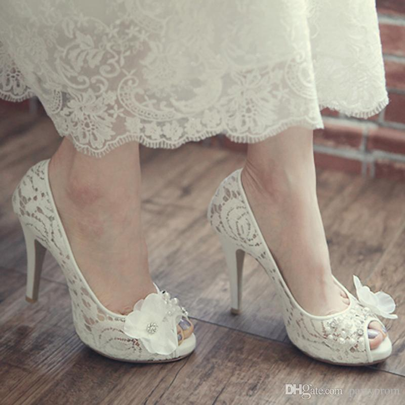 luxurious model bridal lace shoes peep toe koren white wedding shoes