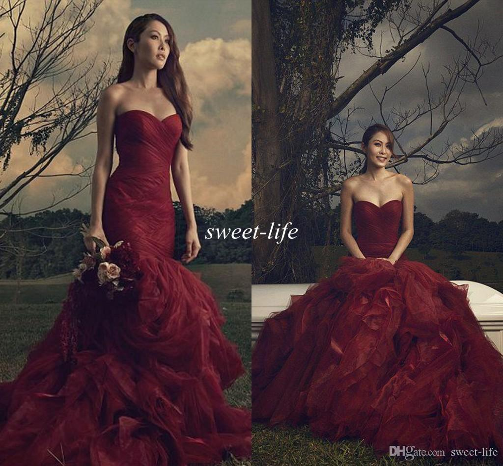 Burgundy Gothic Wedding Dresses 2016 Mermaid Sweetheart