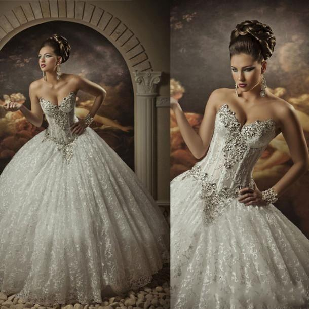 Swarovski Crystal Wedding Dresses Ball Gowns 2016 Full Lace ...