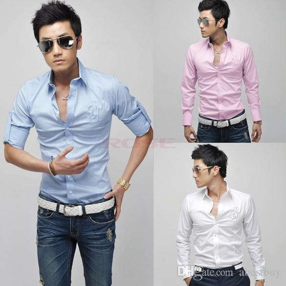 Stylish Trendy 2015 Mens Shirts Casual Men's Slim Fit Shirt Autumn ...
