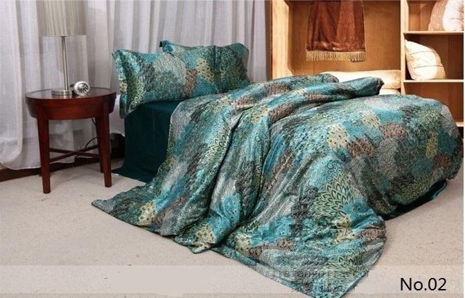 Blue Green Peacock Feather Print Silk Bedding Sets