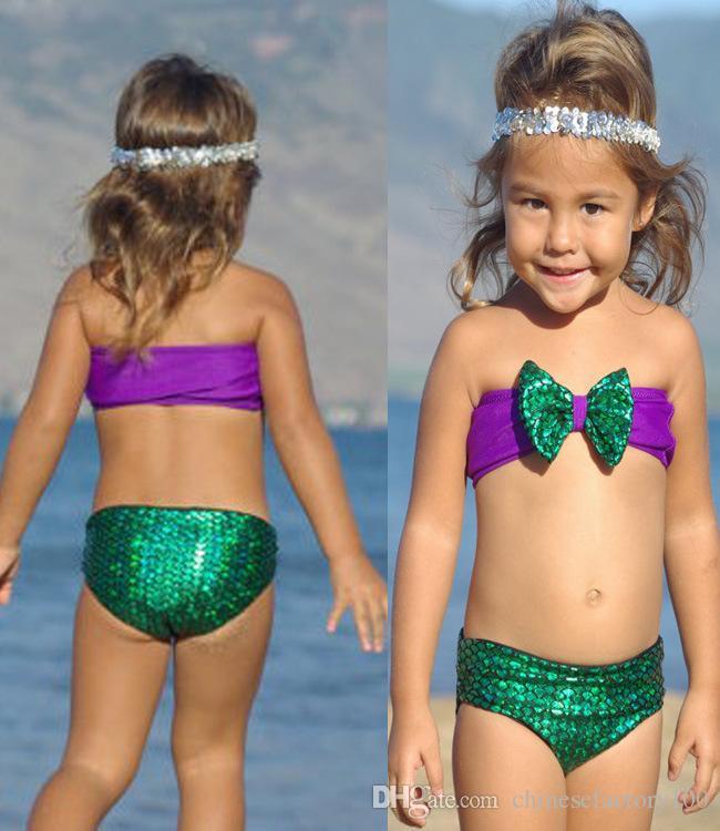 2016 baby girls swimwear 2 pcs bowknot mermaid scales bikini gift girl