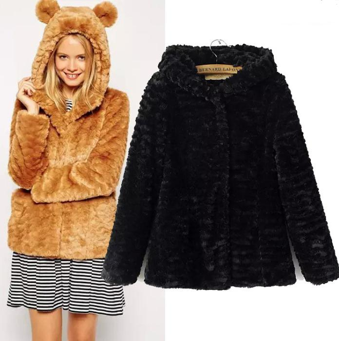 Women Winter Rabbit Fur Faux Fur Coat Fox Fur Outerwear Bear Ear