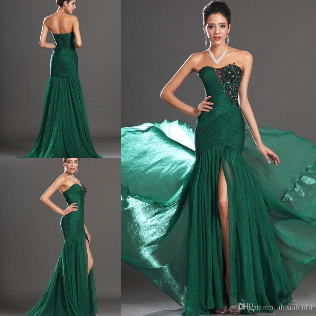 Dark Green Slit 2015 Prom Dresses For Evenings Strapless Tight ...