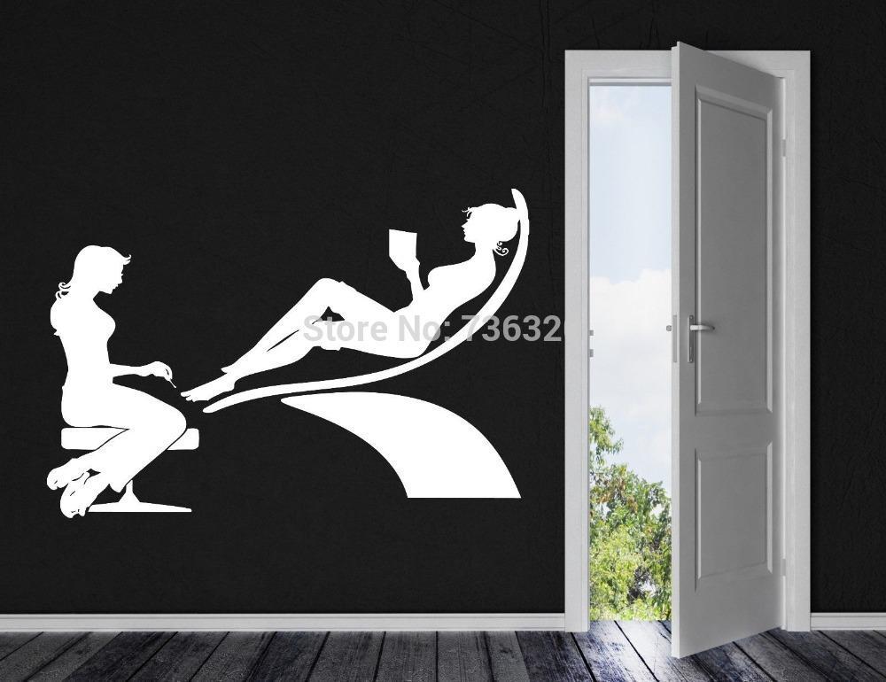 Home decor wall sticker sexy girl nail hand vinyl wall - Stickers deco salon ...