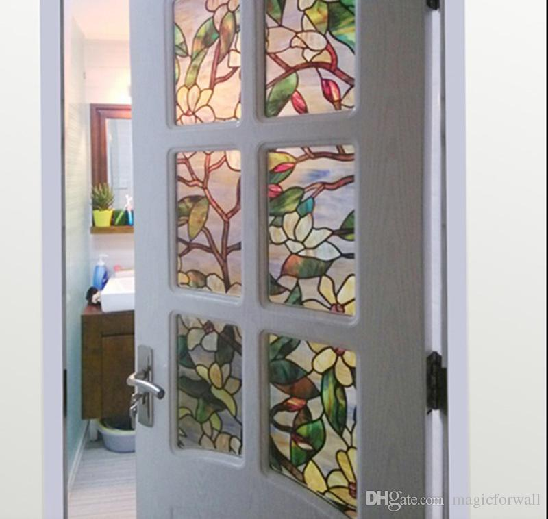 3D Magnolia Flower Stained Glass Film Static Cling Window Film for