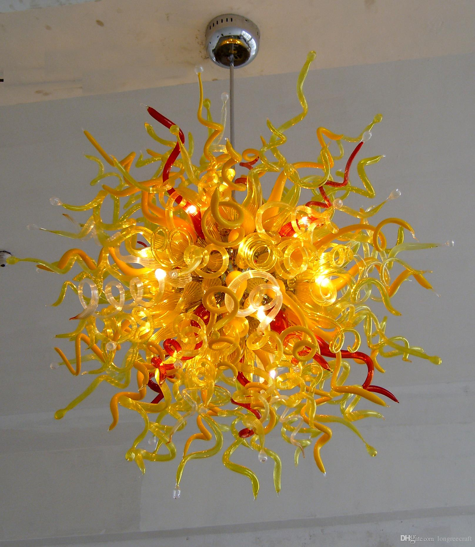 Yellow Ball Lamps Hand Blown Glass Chandelier Lightings LED