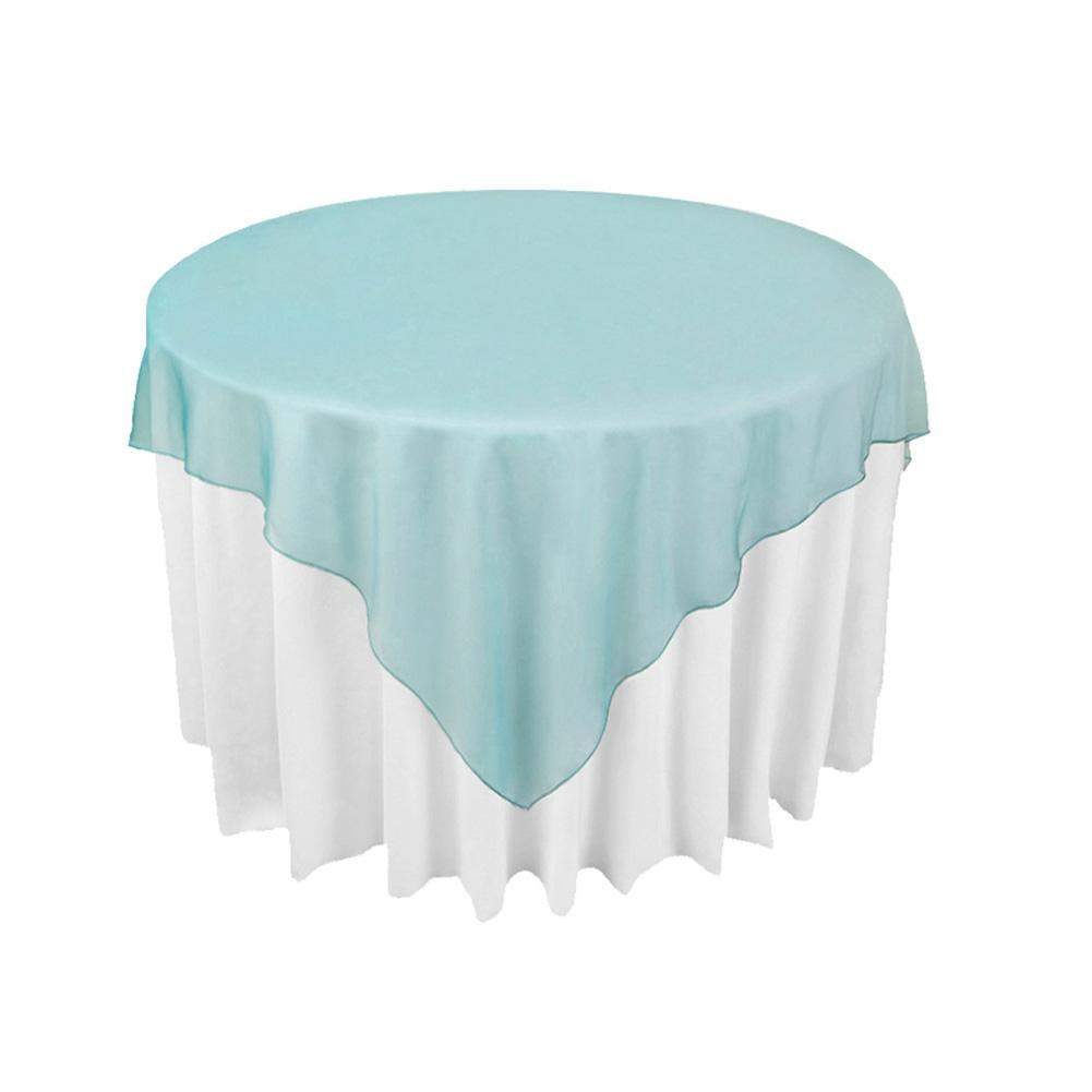 Table Cloth For Round Table Teal Blue Organza Table Overlay Cloth 72x72 Wedding Supply Party