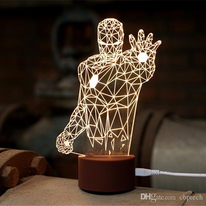 Novel Iron Man 3d Light Fx Deco Led Wall Night Light Wood